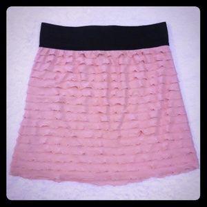 Express Pink Ruffled Mini Skirt